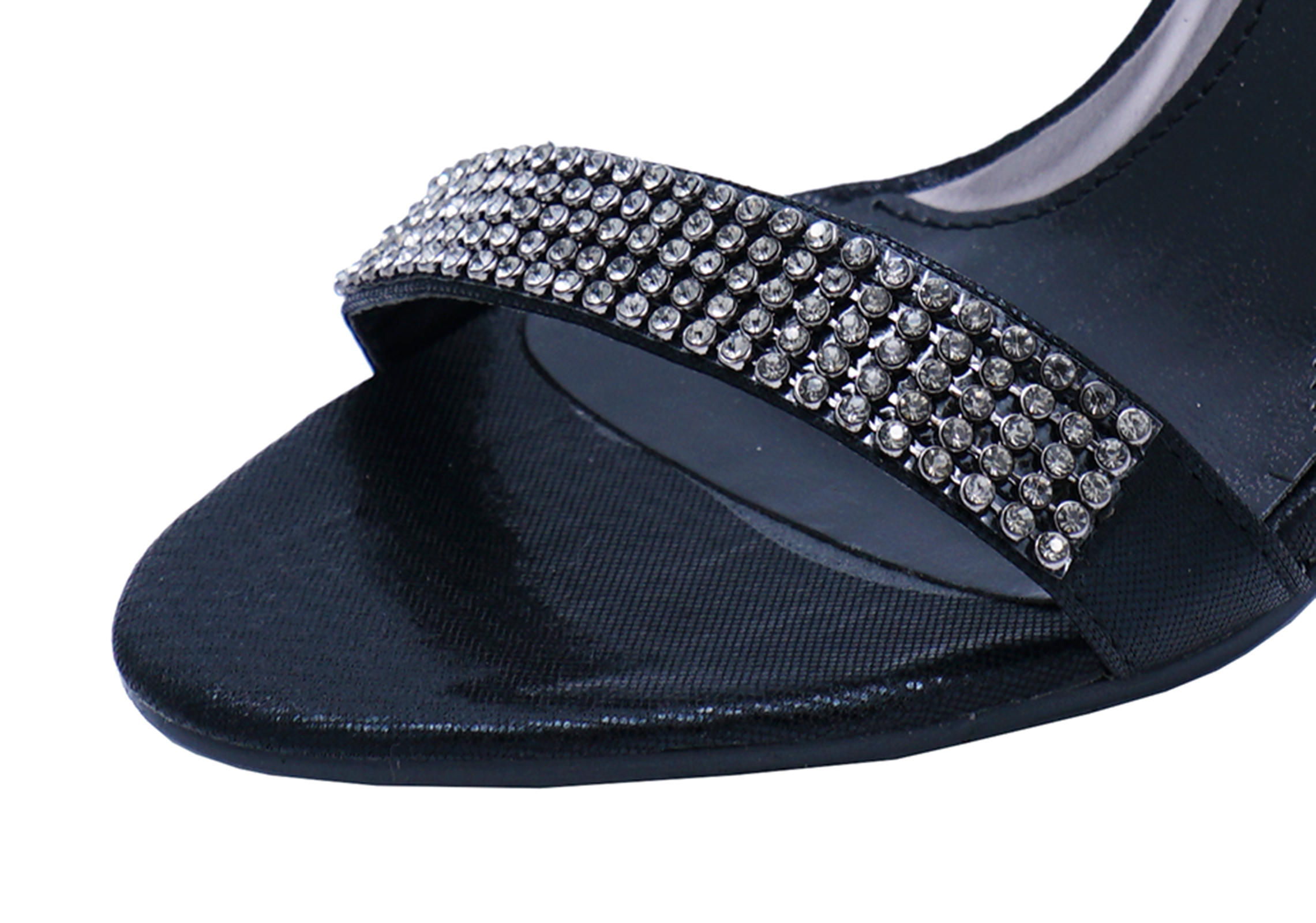 LADIES BLACK ANKLE-STRAP DIAMANTE PEEPTOE SANDALS WEDDING PROM PARTY SHOES 3-8