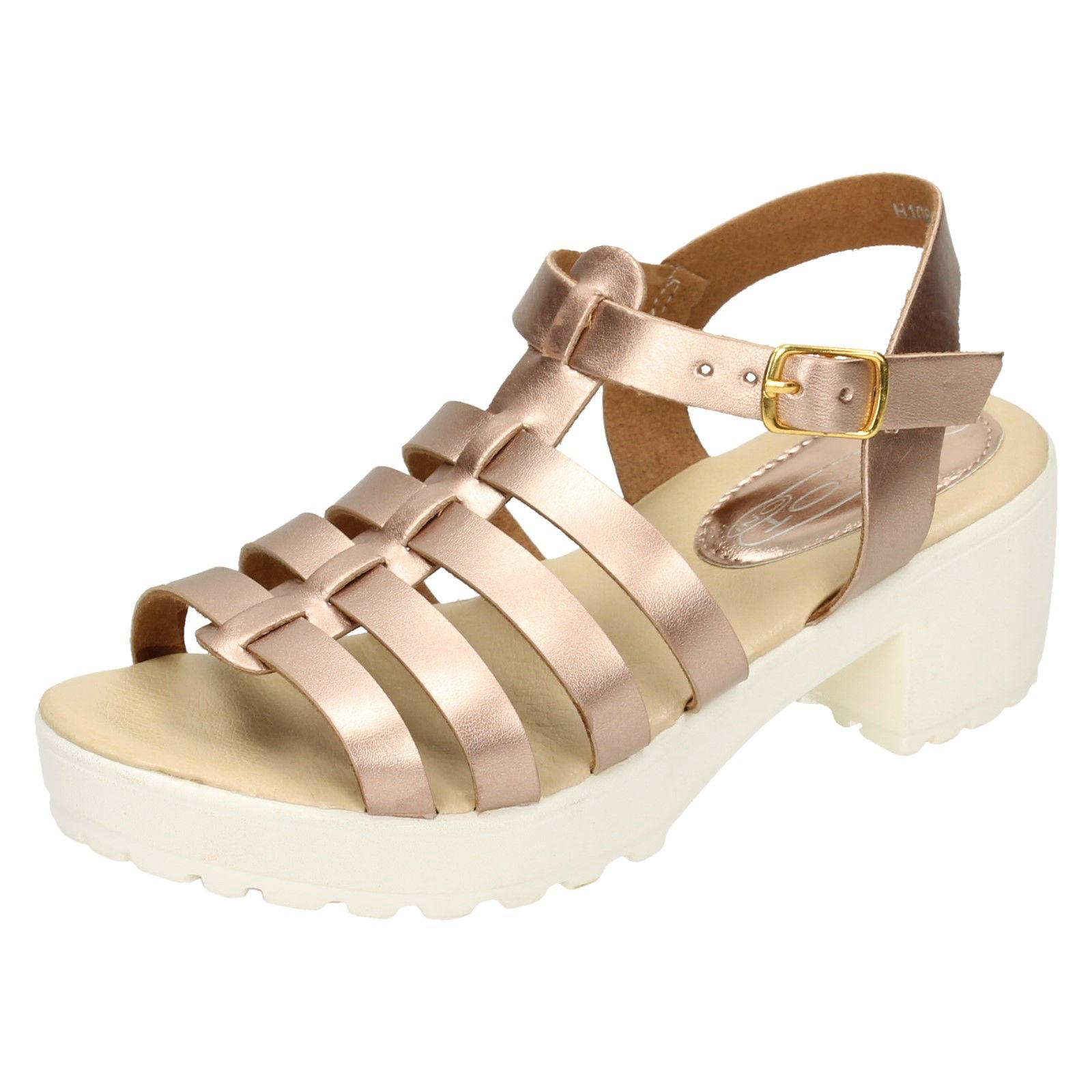 Chicas Rosa Con Correas Plataforma Verano Playa Para Niños Sandalias Zapatos Tallas 10-2