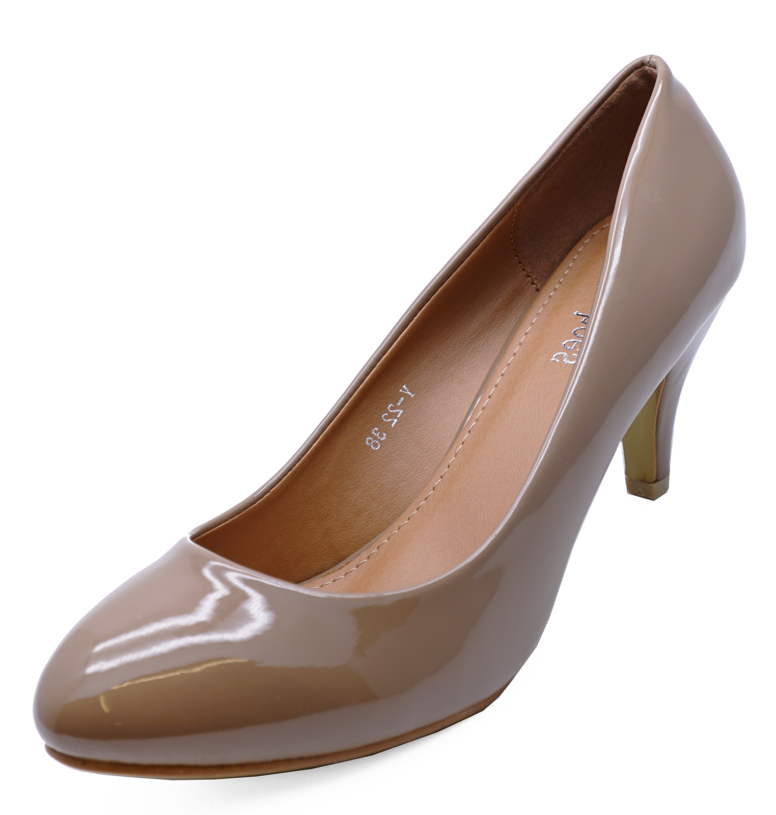 WOMENS TAUPE SLIP-ON SMART CASUAL COURT SECRETARY COMFY SHOES SIZES 3-8