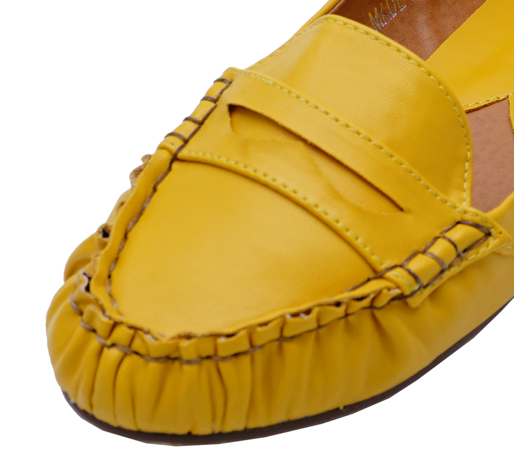 LADIES YELLOW FLAT SLIP-ON LOAFERS SMART COMFY WORK MOCCASIN SHOES PUMPS 3-8