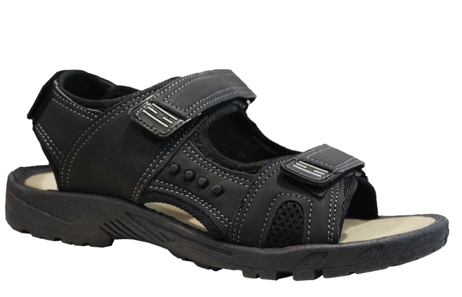 MENS BLACK TOUCH STRAP FLAT WALKING OPEN-TOE SANDALS TRAIL CASUAL SHOES UK 7-12
