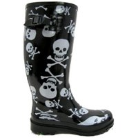 View Item LADIES BLACK SKULL GOTH WELLIES WELLINGTON BOOTS SZ 3-8
