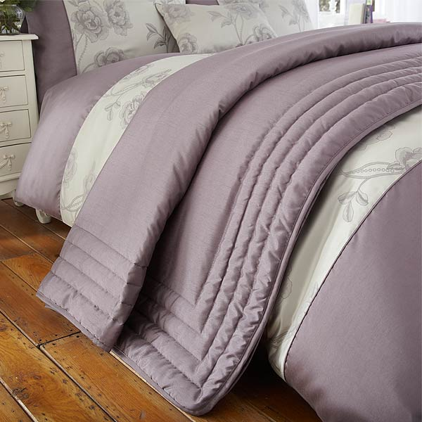 jet de lit matelass antonia jacquard imitation soie gris prune 220x240cm ebay. Black Bedroom Furniture Sets. Home Design Ideas