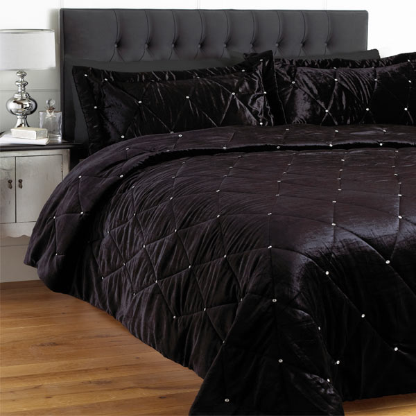 riva home diamante sateen velvet bedspread set 220 x 240. Black Bedroom Furniture Sets. Home Design Ideas