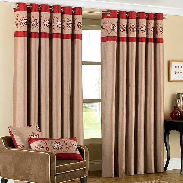 Riva Home Petra Floral Embroidered Faux Silk Eyelet Curtains | eBay