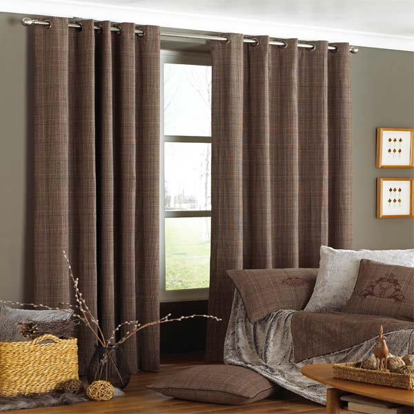 ... about Paoletti Courcheval Tartan Check Lined Eyelet Curtains, Brown