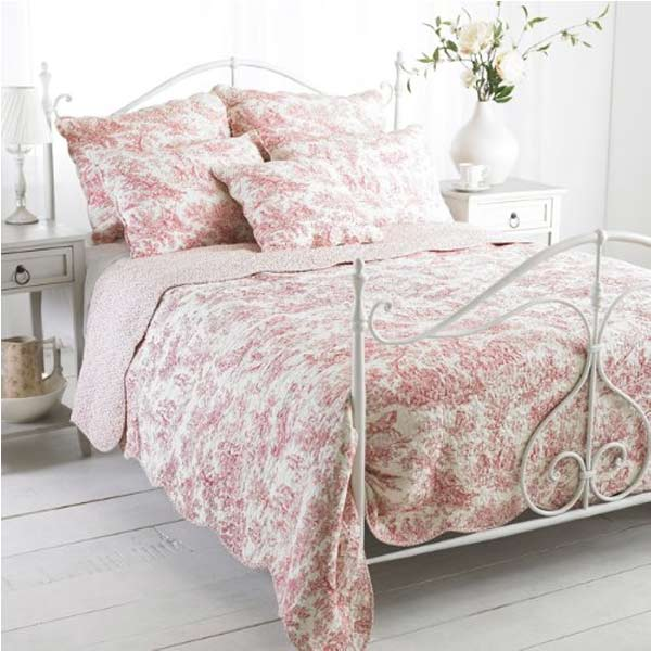 Paoletti canterbury tales toile de jouy pure cotton quilted bedspread ebay - Toile de jouy decoration ...