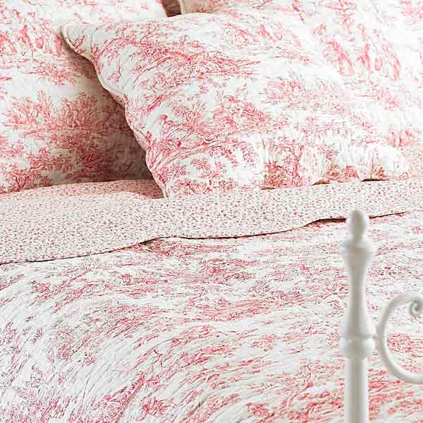 paoletti canterbury tales toile de jouy pur coton matelass couvre lit ebay. Black Bedroom Furniture Sets. Home Design Ideas