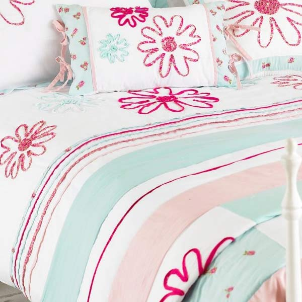 Riva Home Harriet Floral Embroidery Duvet Cover Set Duck