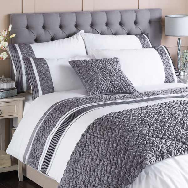 Grey Double Bed Covers : Macy pleated pocket duvet cover set