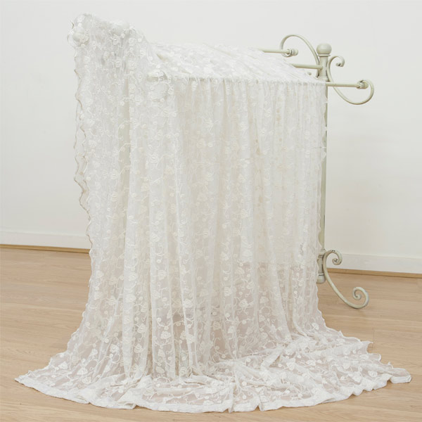 Mcguinness Paloma Floral Embroidered Lace Curtain Panel Cream Ebay