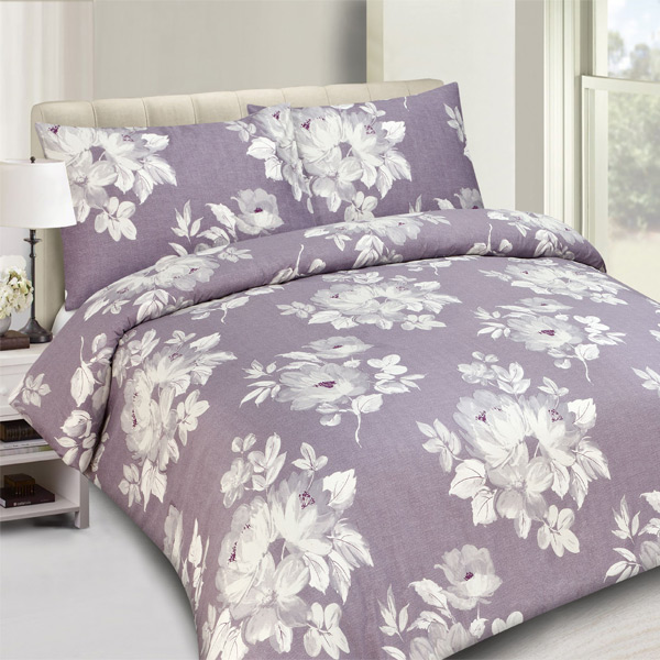 Ambesonne Watercolor Flower Duvet Cover Set Twin Size, Flower Drawing with Soft Spring Colors Retro Style Floral Artwork, Decorative 2 Piece Bedding Set with 1 Pillow Sham, White Purple Blue.