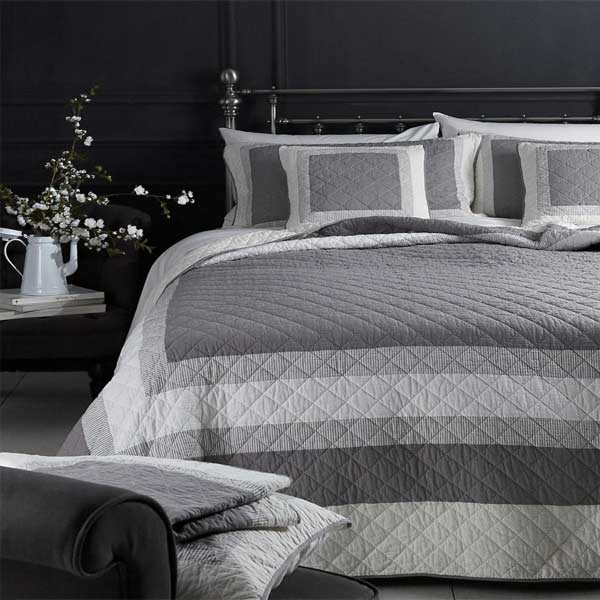 Sashi Saville Patchwork 100% Cotton Quilted Bedspread, Smoke Grey ... : gray quilted bedspread - Adamdwight.com