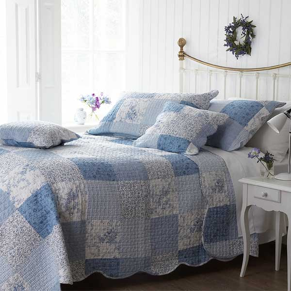 Sashi Sophia Patchwork 100% Cotton Quilted Bedspread, Blue ...