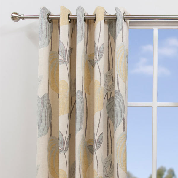Scatter Box Amazon Floral Leaf Jacquard Lined Eyelet Curtains | eBay