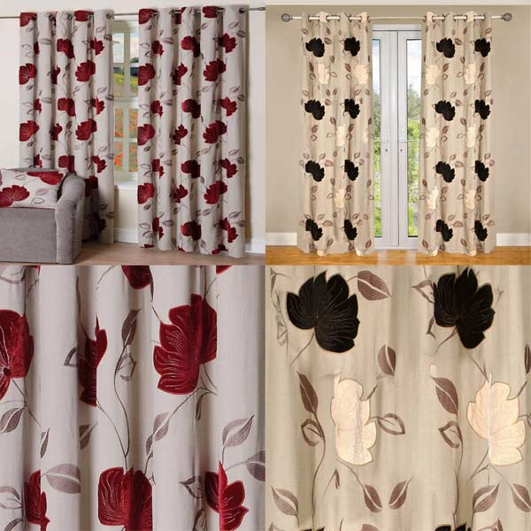 Curtains Ideas burgundy eyelet curtains : Scatter Box Monterose Velvet Applique Lined Eyelet Curtains | eBay