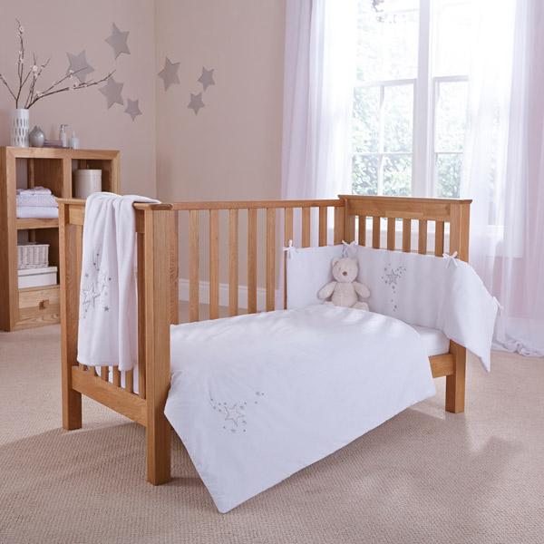 Clair de Lune Starburst 2 Piece Cot Bed Quilt & Bumper Bedding Set