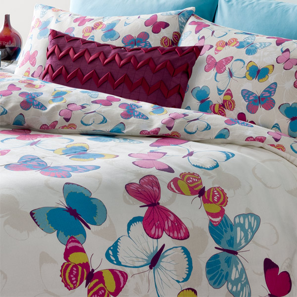 Catherine Lansfield Home Butterfly Fusion Duvet Cover Set, Multi ...