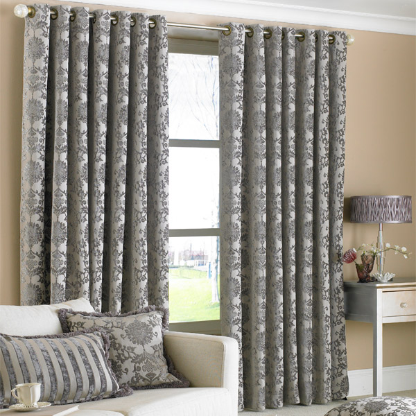 Paoletti Hanover Chenille Jacquard Lined Eyelet Curtains, 90 x 90 ...
