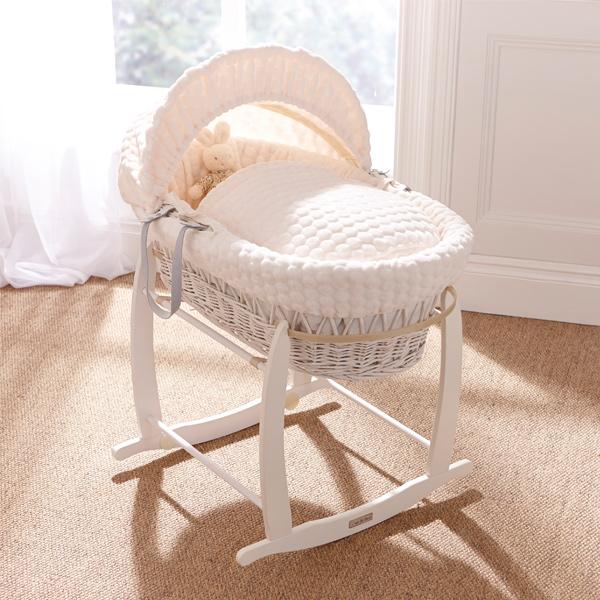 clair de lune marshmallow white wicker moses basket ebay. Black Bedroom Furniture Sets. Home Design Ideas