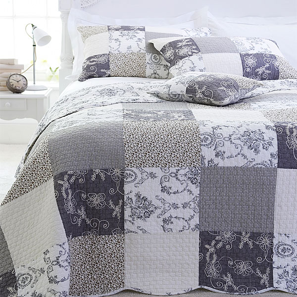 Sashi Bed Linen Riviera Toile Patchwork 100% Cotton Quilted ... : gray quilted bedspread - Adamdwight.com