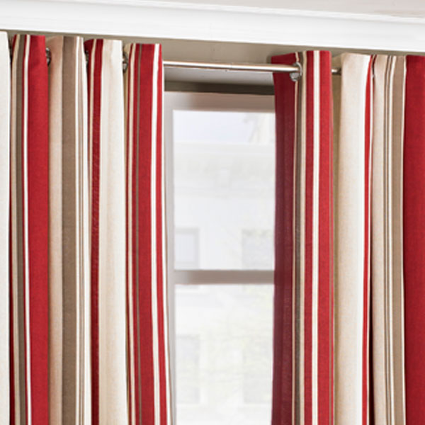 Riva Home Broadway Stripe Woven Lined Eyelet Curtains Ebay