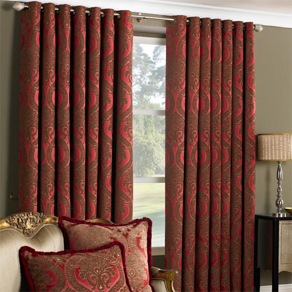 Curtains Ideas burgundy eyelet curtains : Renaissance Jacquard Woven Lined Eyelet Curtains, Burgundy, 66 x ...