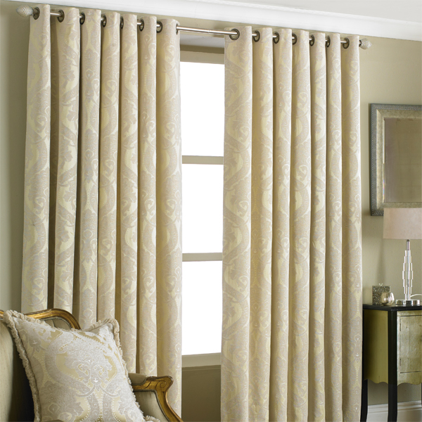 Paoletti Renaissance Chenille Jacquard Woven Lined Eyelet Curtains ...