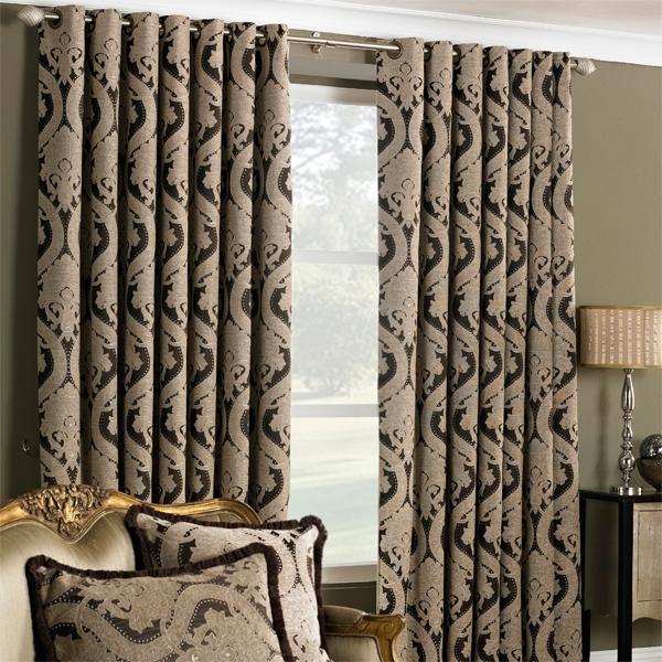 Renaissance Jacquard Woven Lined Eyelet Curtains, Mocha, 90 x 90 ...