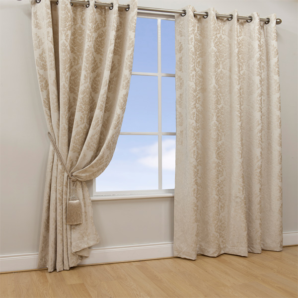 Curtains Ideas damask curtain : Details about Scatter Box Aston Damask Chenille Lined Eyelet Curtains