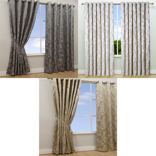 Scatter Box Chelsea Embossed Floral Eyelet Curtains | eBay