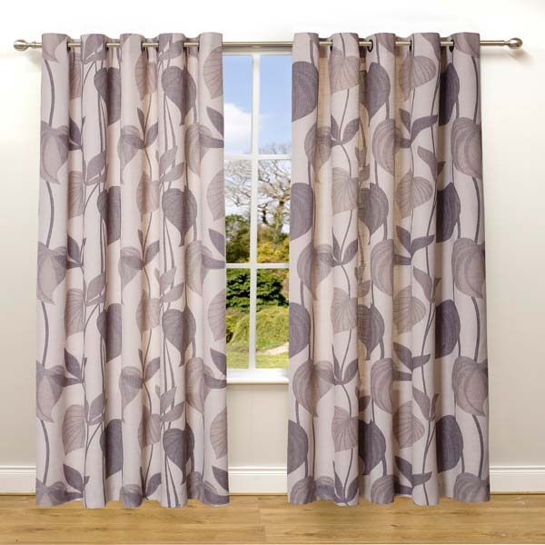 Scatter Box Amazon Floral Leaf Jacquard Lined Eyelet Curtains   eBay