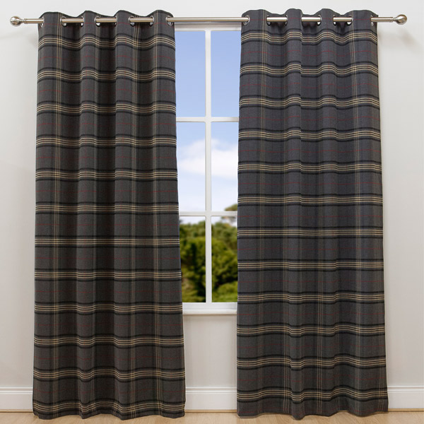 Scatter Box Glanmire Check Eyelet Lined Curtains, Grey/Camel/Red