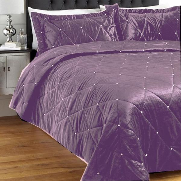 maison riva diamante satinette ensemble de couvre lit velours 220 x 240 cm ebay. Black Bedroom Furniture Sets. Home Design Ideas