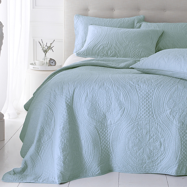Bedspread Duck Egg Blue: Sashi Bed Linen Richmond Cotton Embroidered Quilted