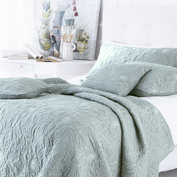 Bedspread Duck Egg Blue: Sashi Bed Linen Riviera 100% Cotton Embroidered Quilted