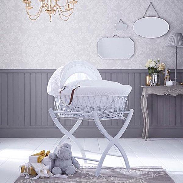 Izziwotnot White Premium Gift Wicker Moses Basket
