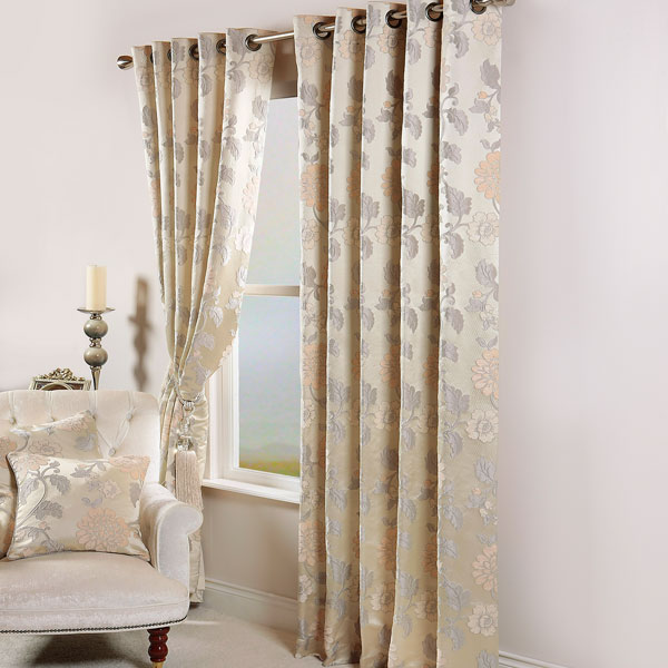 Sentinel Scatter Box Lorenzo Floral Chenille Jacquard Eyelet Lined Curtains 90 X Inch