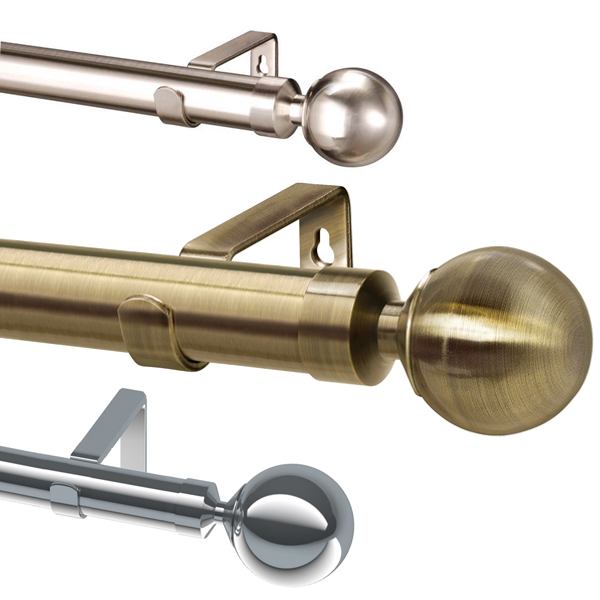 Linens Limited Serenity Ball 28mm Complete Metal Eyelet Curtain Pole Set
