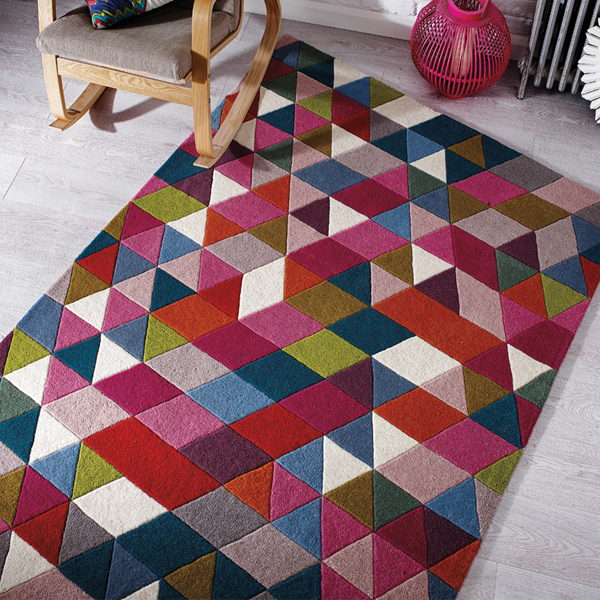 Flair Rugs Illusion Prism 100 Wool Hand Tufted
