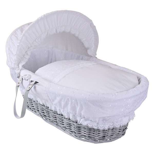 Grey Wicker Basket Uk : Clair de lune vintage grey wicker moses basket white