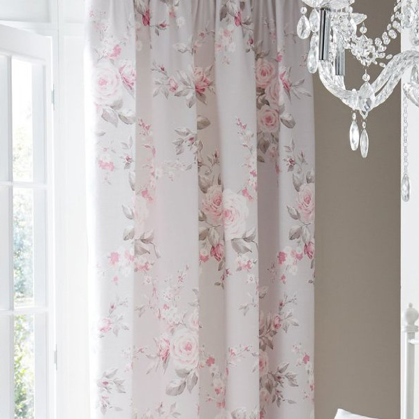 Catherine Lansfield Canterbury Floral Pencil Pleat Lined Curtains