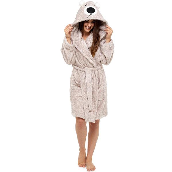 Foxbury Women/'s Novelty Animal Bear Plush Coral Fleece Hooded Bath Robe