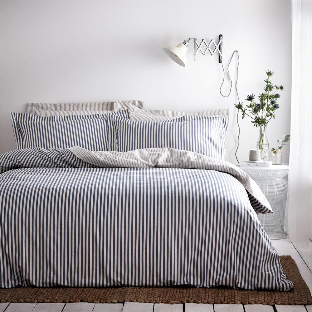 The Linen Yard Hebden Stripe Melange 100/% Cotton Reversible Duvet Cover Set