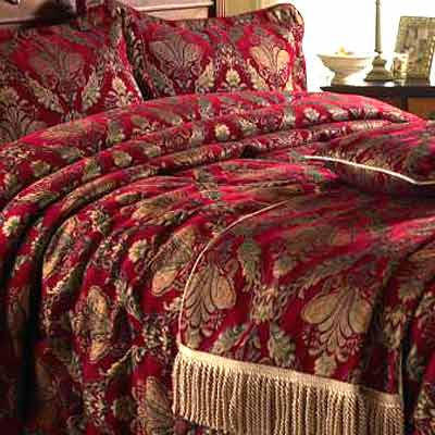 Paoletti shiraz comforter bedspread burgundy gold king for Burgundy and gold bedroom designs