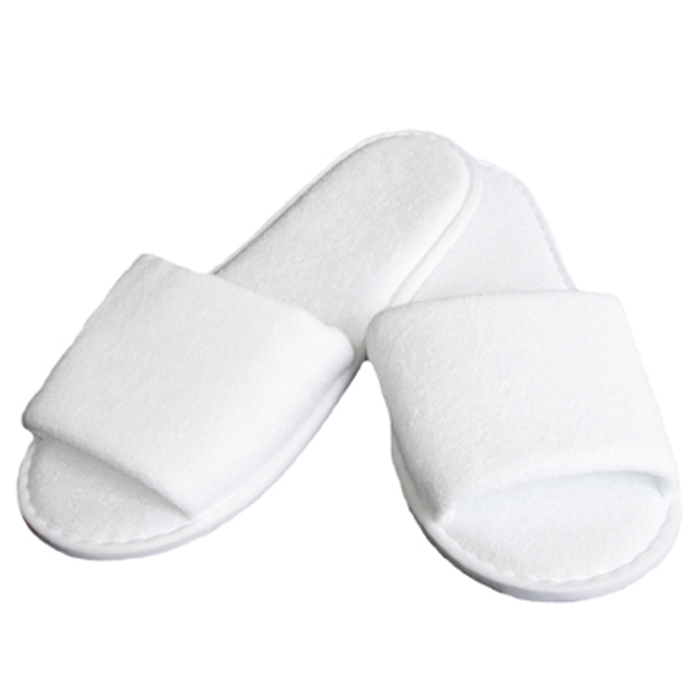 Linens Limited Open Toe Towelling Spa Slippers, White