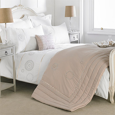 bettw sche set serenity wei taupe double doppel ebay. Black Bedroom Furniture Sets. Home Design Ideas