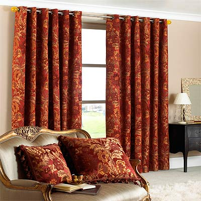 Paoletti Belgravia Chenille Jacquard Lined Eyelet Curtains 90