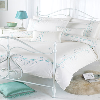 parure housse de couette 1 personne blossom bleu vert 137 x 200 cm ebay. Black Bedroom Furniture Sets. Home Design Ideas