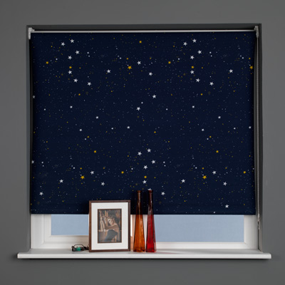 Sunlover Thermal Blackout Roller Blinds, Star Navy, W180cm Enlarged Preview